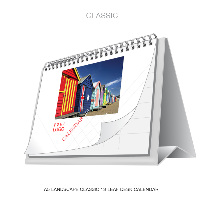 Classic A5 landscape 7 leaf desk calendar