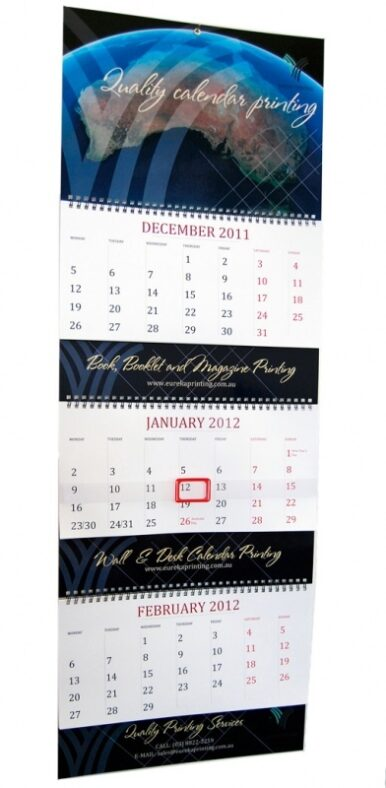 Three Month to View Calendar printing