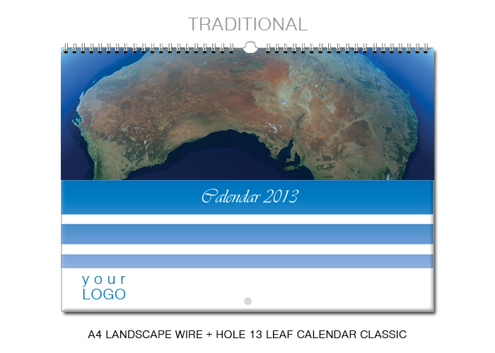 A3 landscape wire + hanger 13 leaf calendar classic
